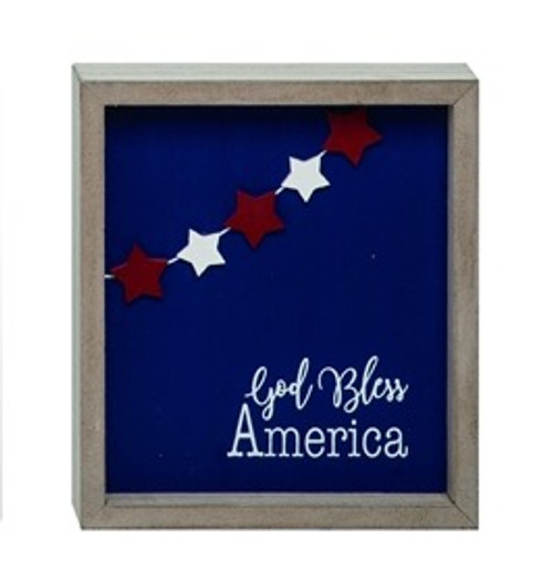 God Bless America Block Sign