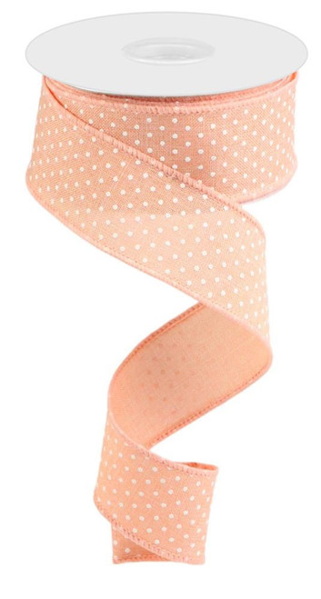 "1.5"" Raised Swiss Dot Ribbon: Peach - 10yd"