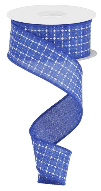 "1.5"" Royal Blue/White Stitched Square Ribbon - 10Yds"