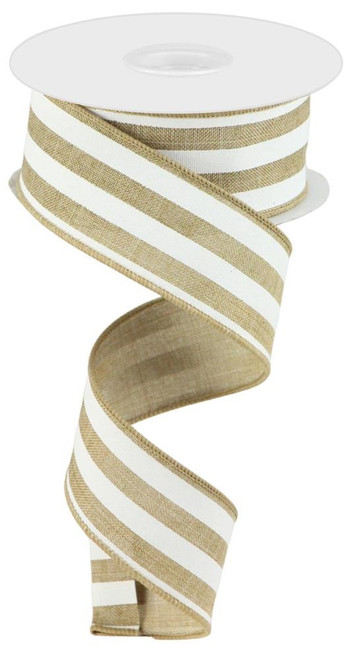 "1.5"" Vertical Stripe Ribbon: Lt Beige/White"