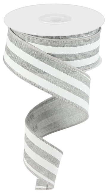 "1.5"" Vertical Stripe Ribbon: Grey/White"