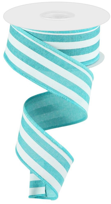 "1.5"" Vertical Stripe Ribbon: Lt Teal/White"