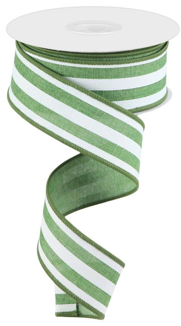 "1.5"" Vertical Stripe Ribbon: Clover/White"