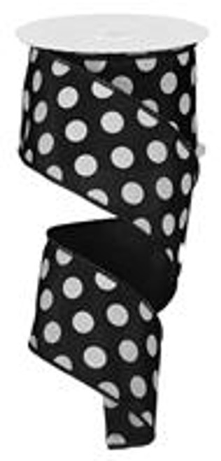 "Black and White Polka Dot Satin Ribbon Wired 2.5"" x 10Yds"