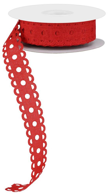 "1"" x 20yd Royal Burlap Lace Dot Ribbon: Red"