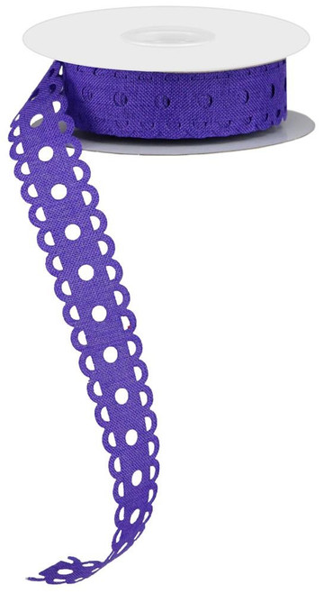 "1"" x 20yd Royal Burlap Lace Dot Ribbon: Purple"
