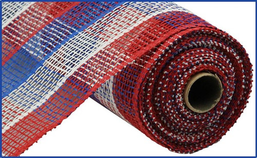 """10"""" Poly Burlap Check Mesh: Red/White/Blue"""