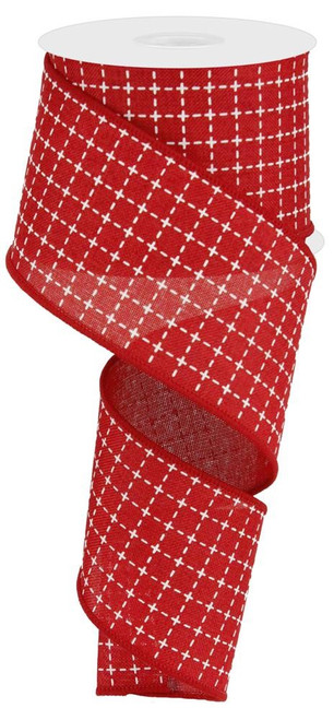 """2.5"""" Red/White Stitched Square Ribbon - 10Yds"""