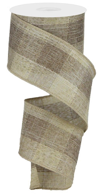 """2.5"""" Large Woven Check Ribbon: Brown/Beige - 10Yds"""