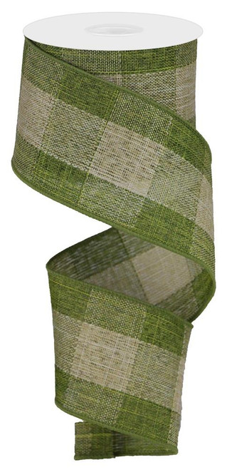 """2.5"""" Large Woven Check Ribbon: Moss Green/Beige - 10Yds"""