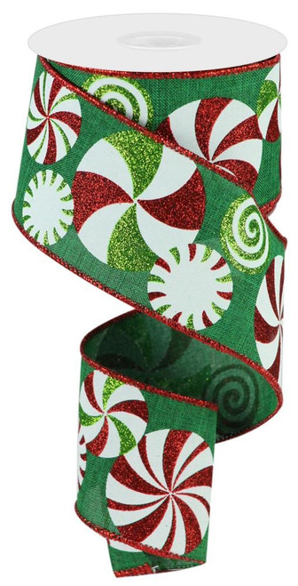 """2.5"""" Bold Peppermint Ribbon: Emerald/Red/Wht - 10 yards"""