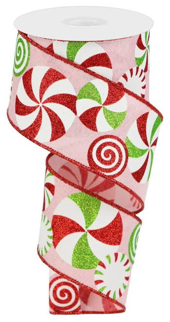"""2.5"""" Bold Peppermint Ribbon: Pink/Red/Wht/Lime - 10 yards"""