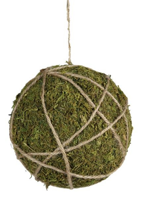 "3.5"" Moss and Jute Ball Ornament"