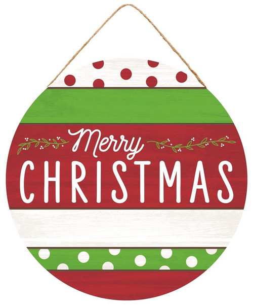 Round Merry Christmas Sign: Red/Wht/Lime
