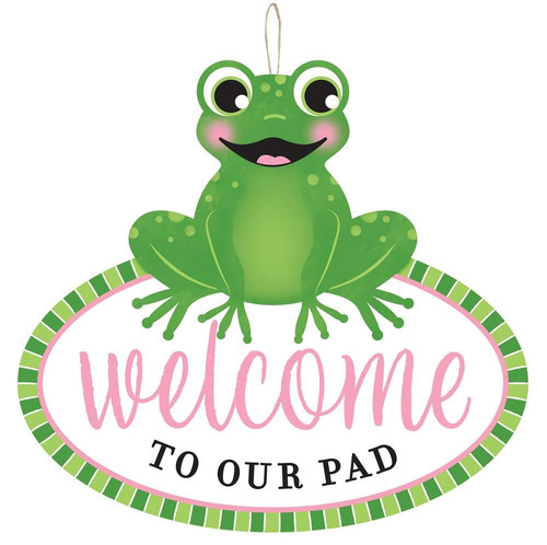 """12"""" Welcome to Our Pad Frog Sign"""