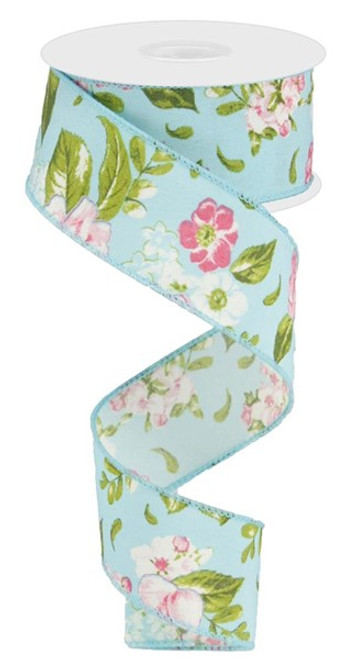 """1.5"""" Spring Floral Ribbon: Turquoise - 10Yds"""
