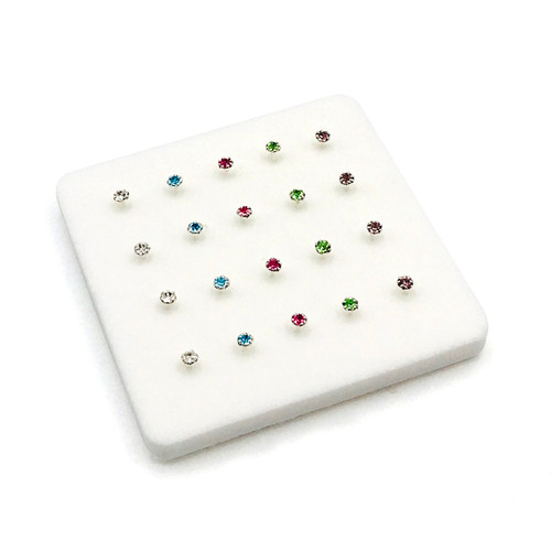 2 mm Sterling Silver Prong Set Multi Color Nose Pins
