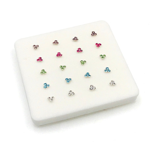 Sterling Silver 3 Crystal Multi Color Nose Pins