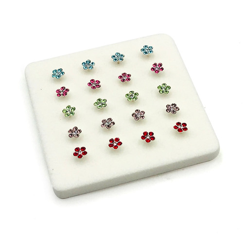 Sterling Silver Flower Multi Color Nose Pins