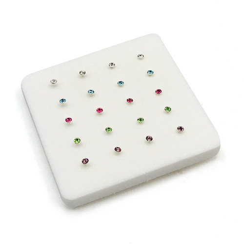 2 mm Sterling Silver Multi Color Nose Pins
