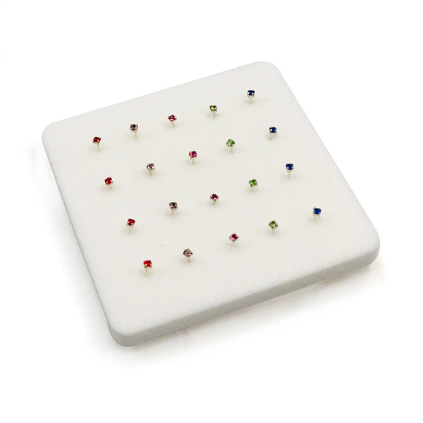 1.5 mm Sterling Silver Prong Set Multi Color Nose Pin