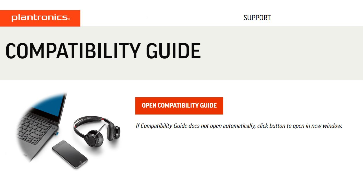 Plantronics Logo and link to compatability guide