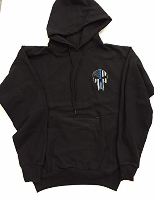 Blue Line Skull Pullover hoodie