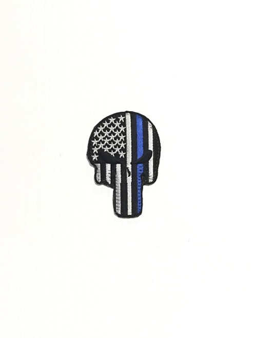 Blue Line Skull Patch