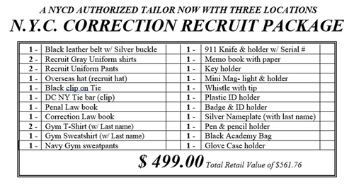 Correction Recruit Package Women's