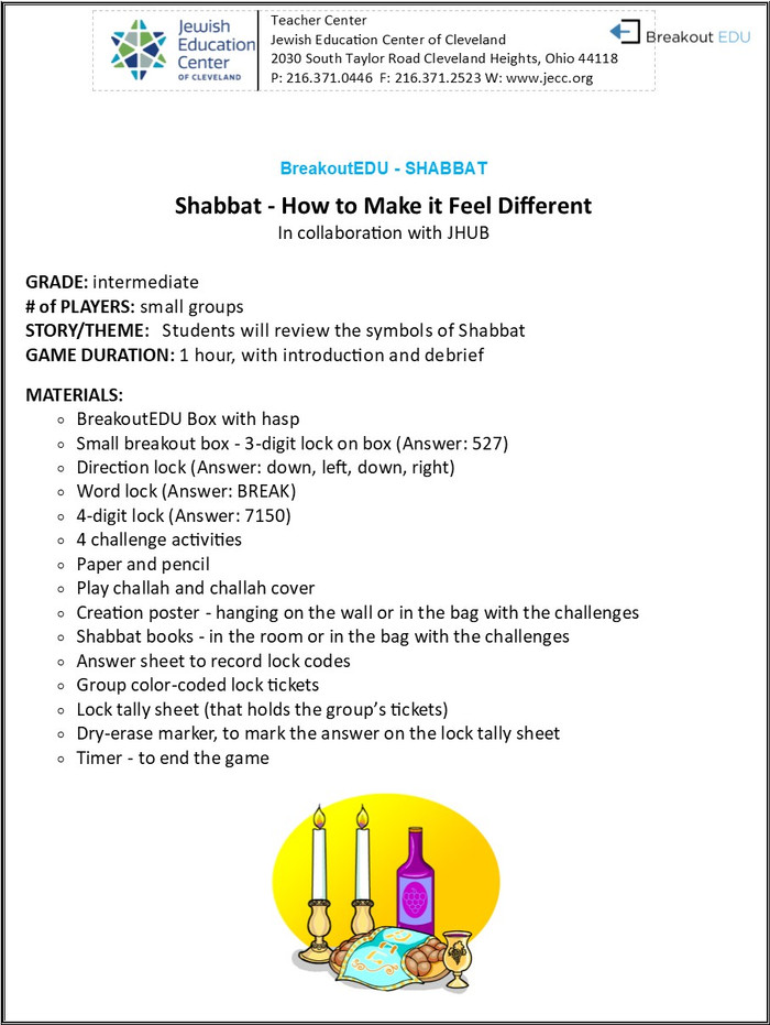 BreakoutEDU-SHABBAT - How to Make it Feel Different