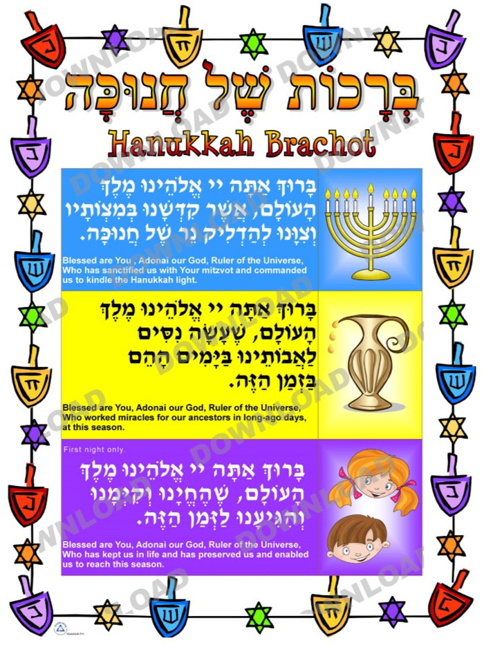 Hanukkah Brachot Poster (a downloadable item)