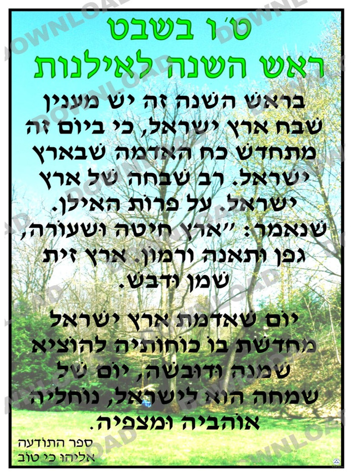 Tu BiSh'vat Text Source Poster (a downloadable item)