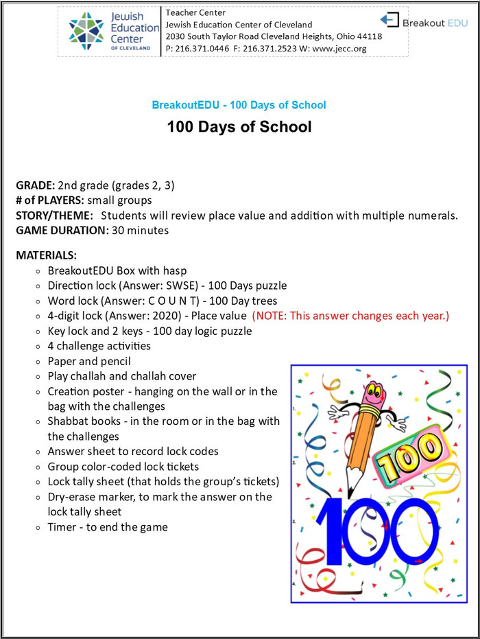BreakoutEDU-General Studies - 100 Days of School