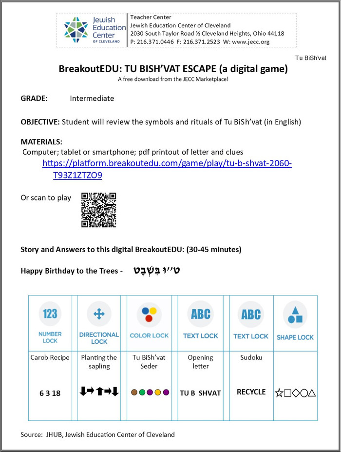 BreakoutEDU-TU BISH'VAT (a digital download)