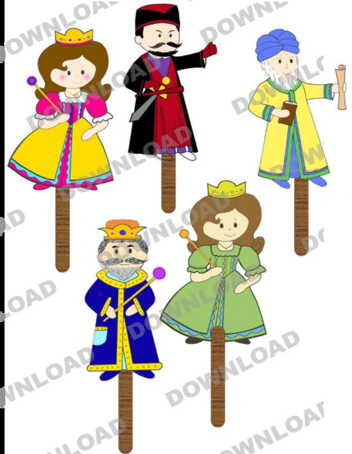 Purim Tongue Depressor Puppets (a downloadable item)