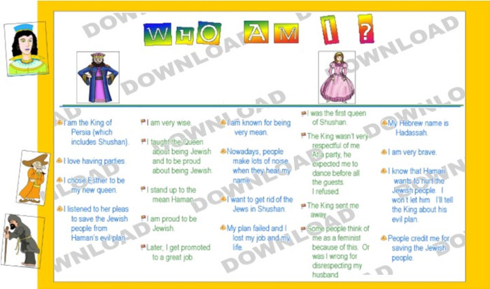 Purim - Who Am I? (a downloadable item)