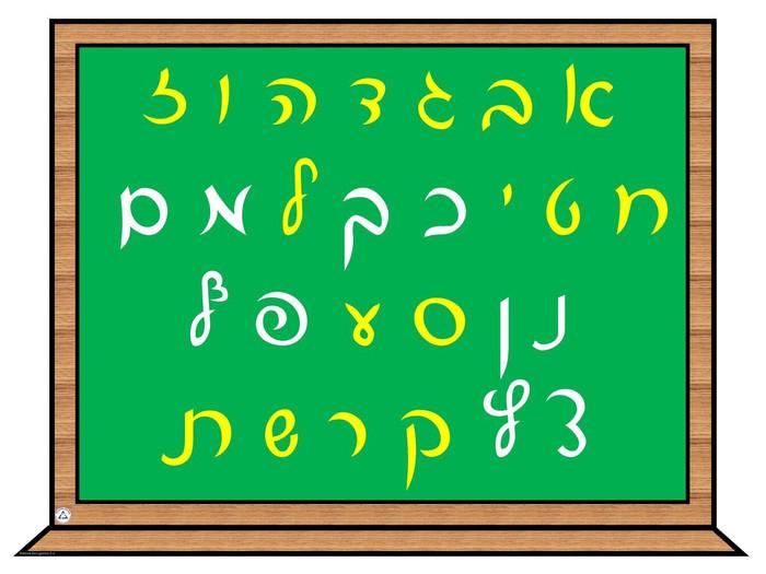 Alef Bet (Script) Chalkboard Poster