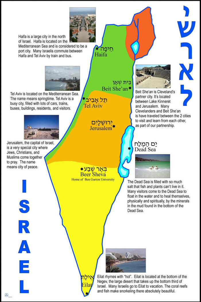 Israel Map with City Descriptions