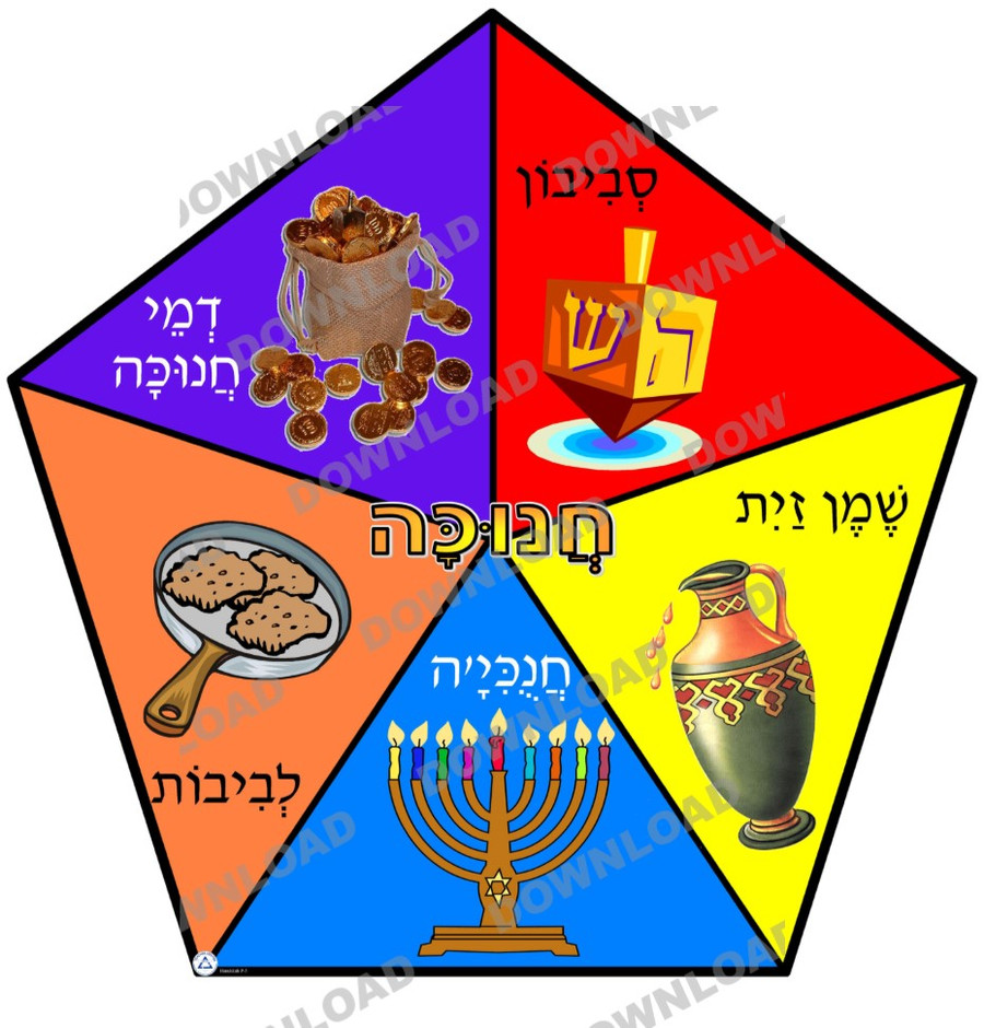 Hanukkah Symbols Pentagon (a downloadable item)
