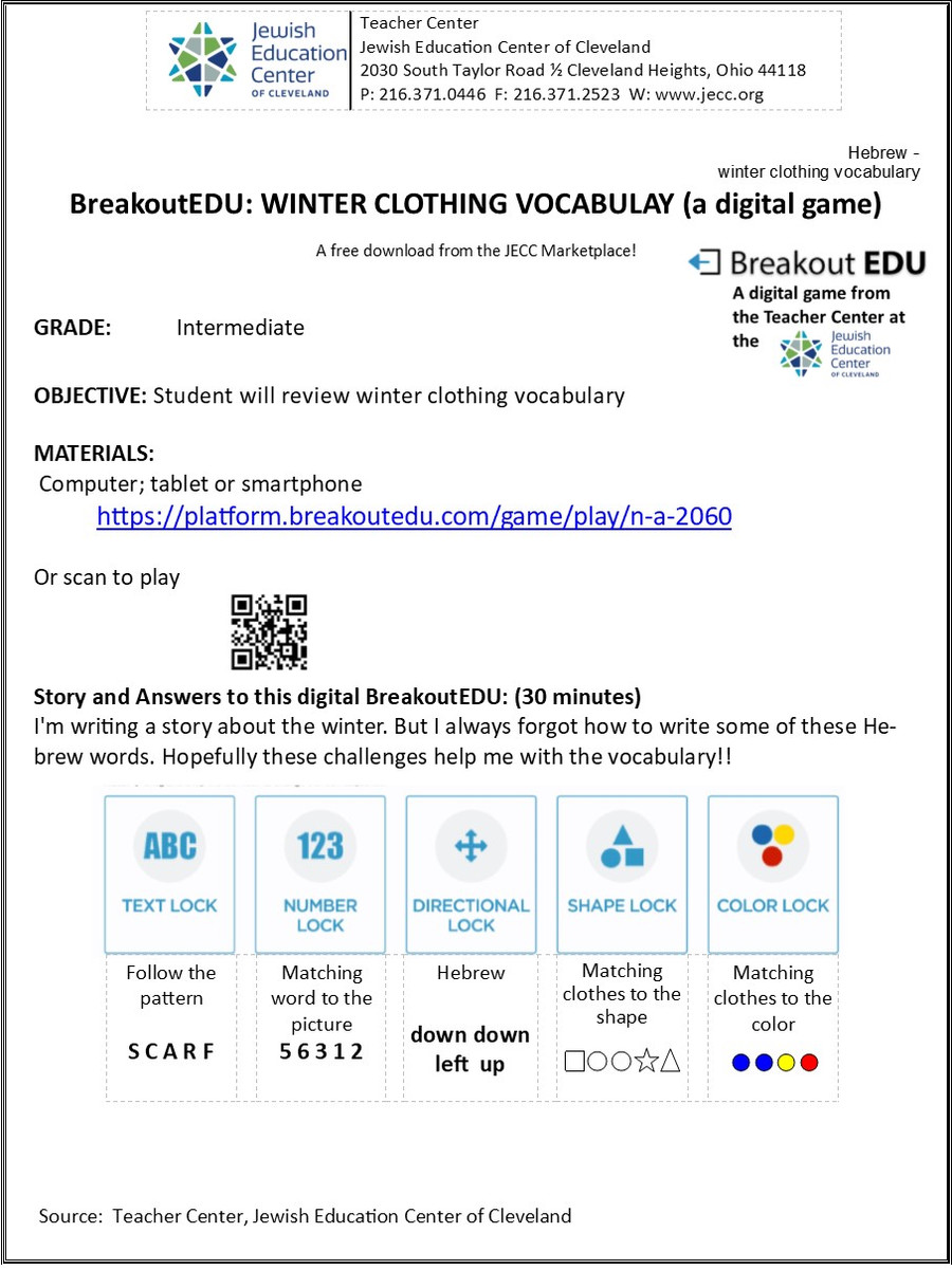 BreakoutEDU-WINTER CLOTHING VOCABULARY (a digital download)