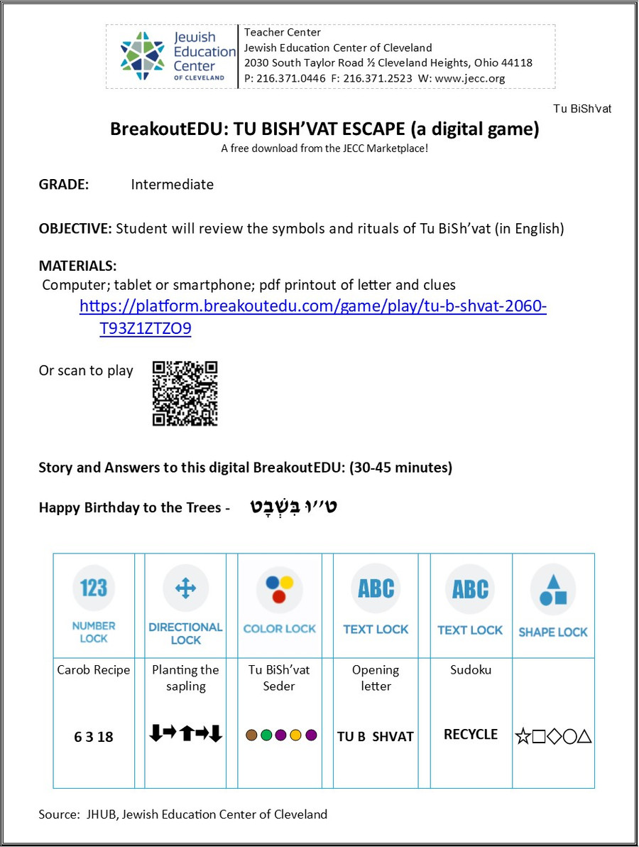 BreakoutEDU-TU BISH'VAT (a digital download)