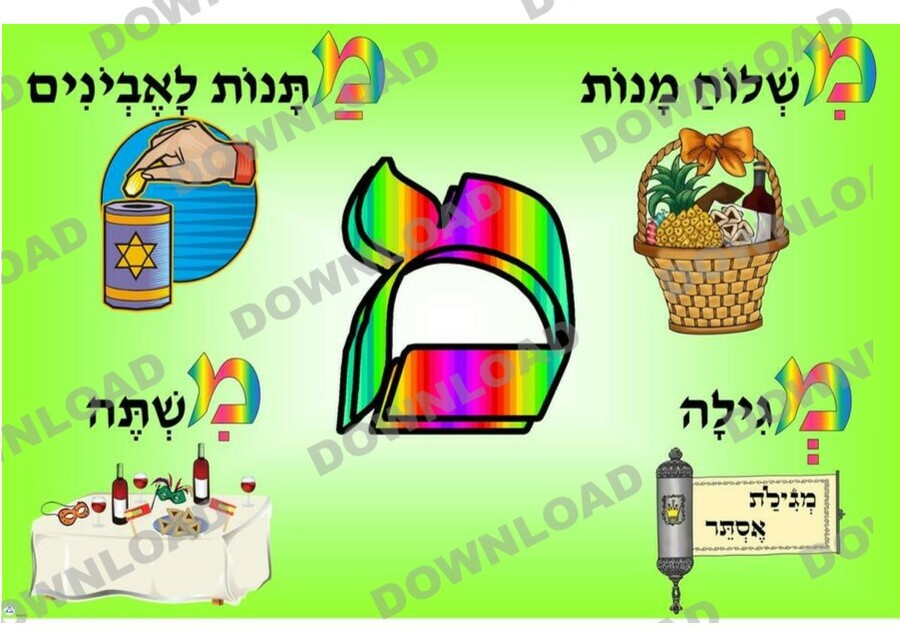 Four Mitzvot of Purim Poster (a downloadable item)