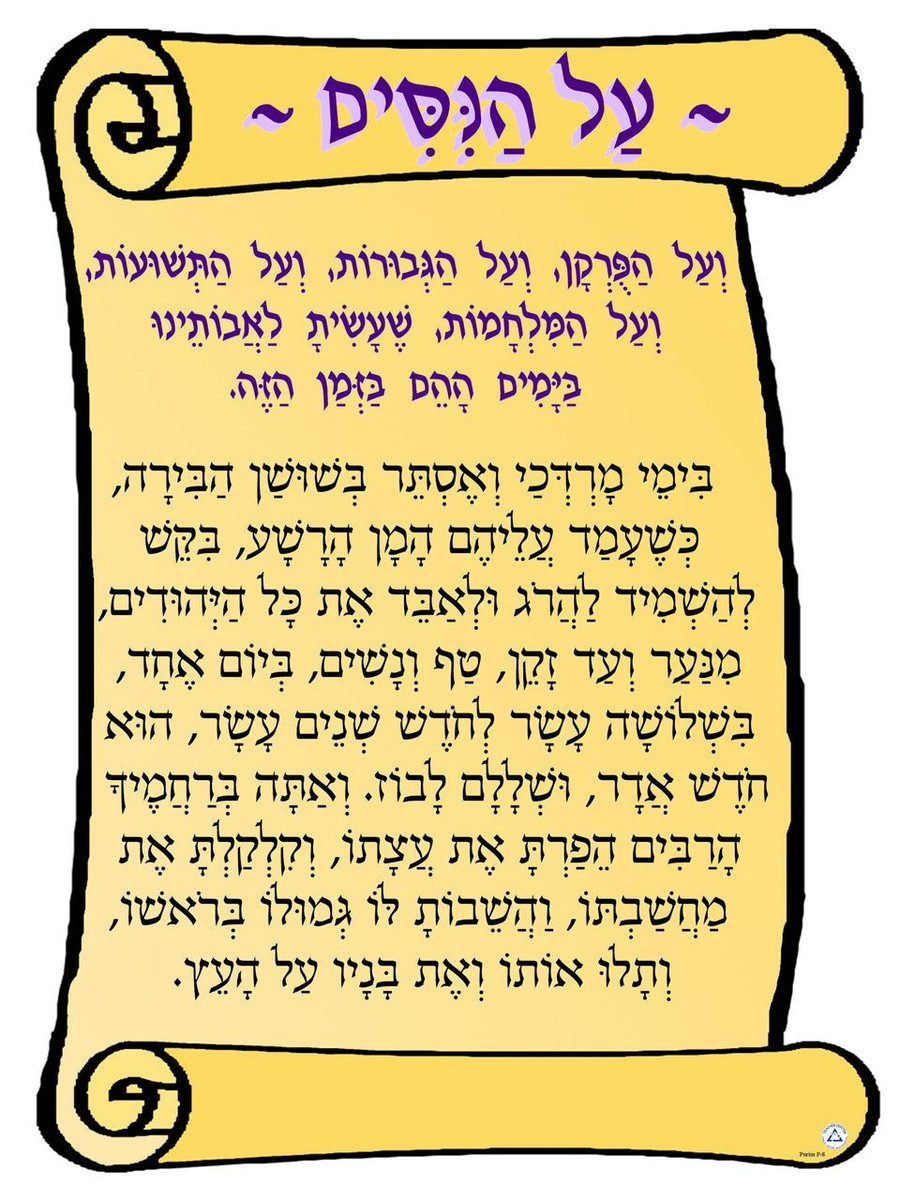 Al HaNisim Scroll Poster
