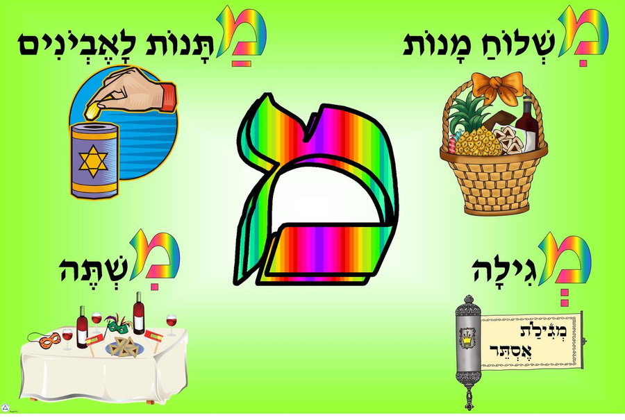 Four Mitzvot of Purim Poster