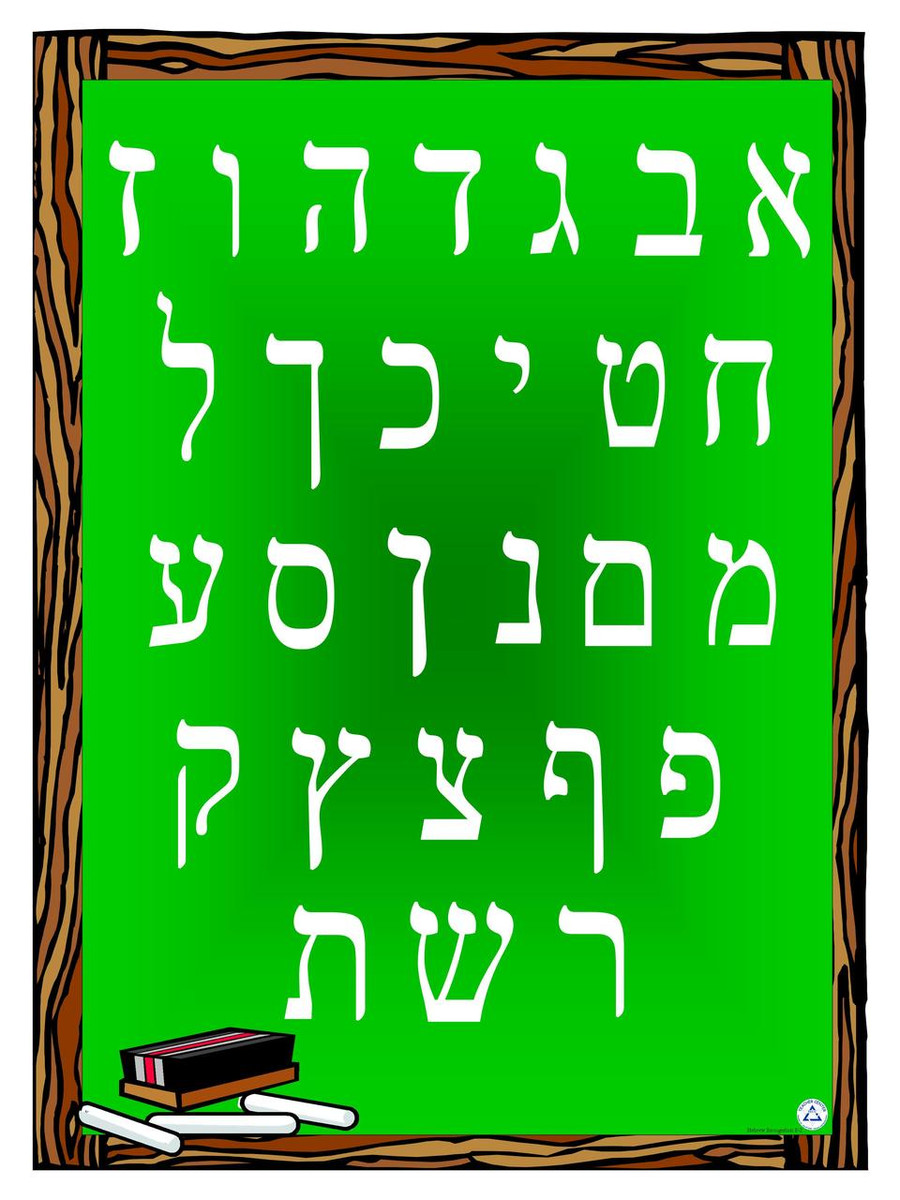 Alef Bet Chalkboard Poster