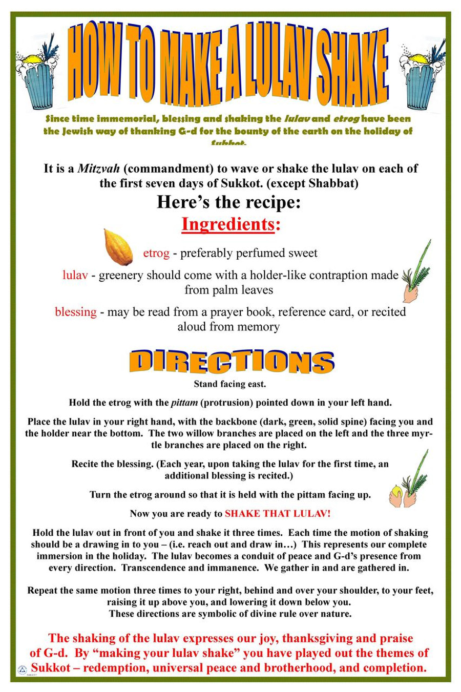 How to Make a Lulav Shake Poster