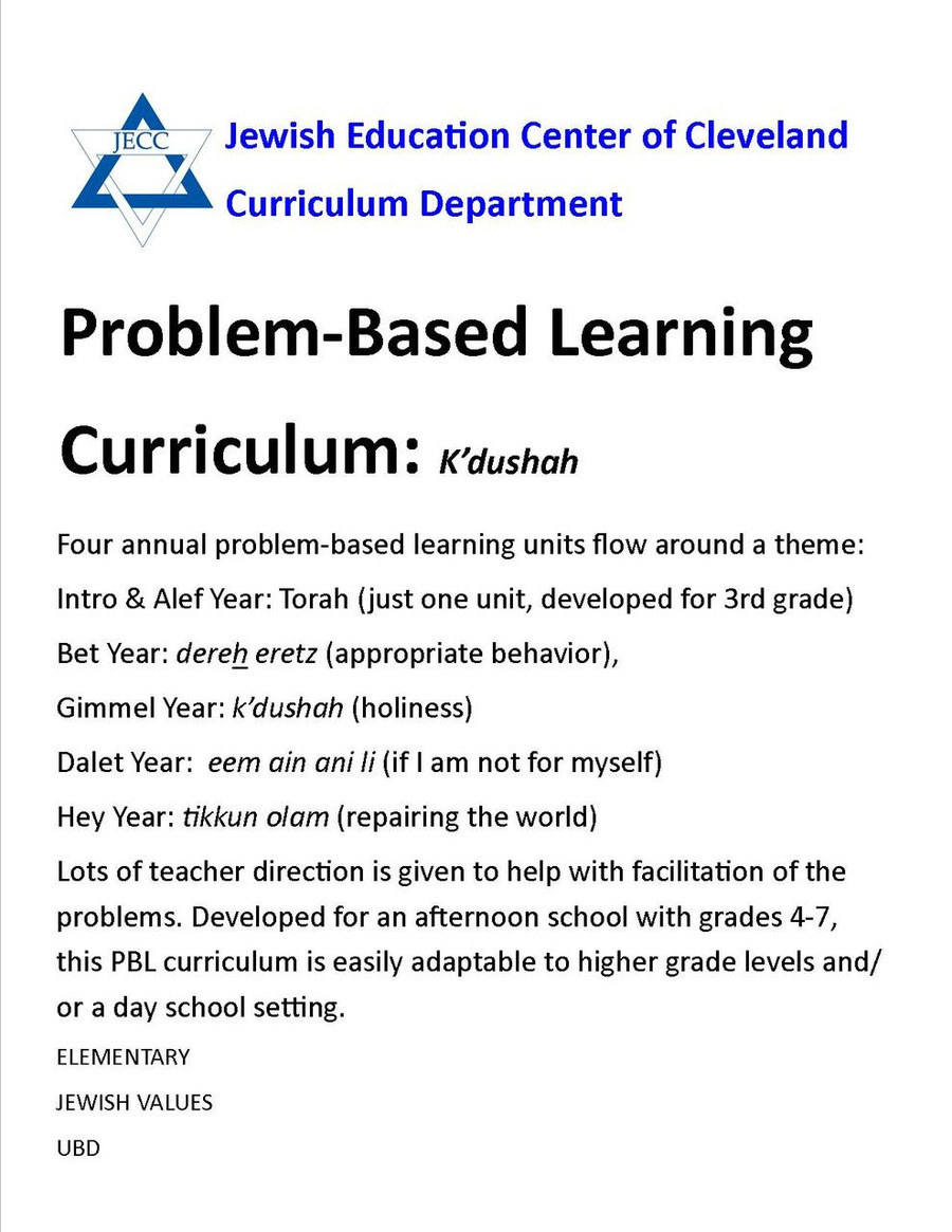 Problem-Based Learning (PBL) Curriculum (Upper Elementary)