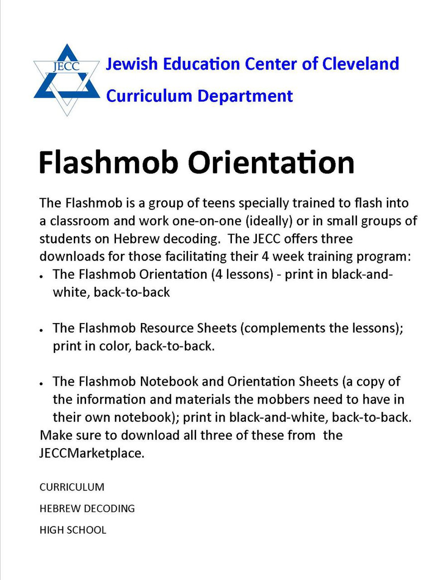 Hebrew Flashmob Orientation