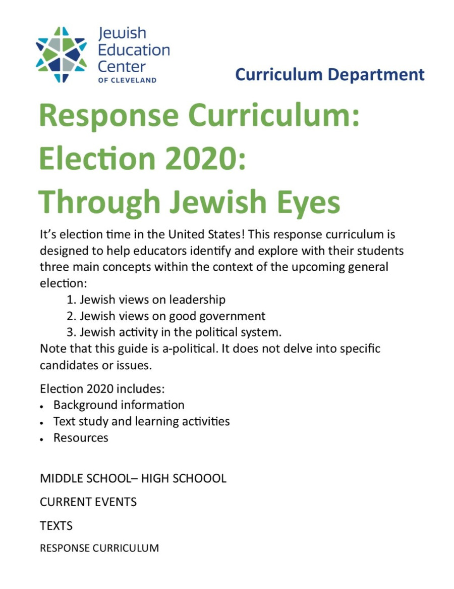 Election 2020: Through Jewish Eyes, A Response Curriculum