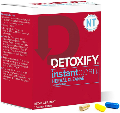 Detoxify Instant Clean Herbal Cleanse Unflavored 3 Capsules
